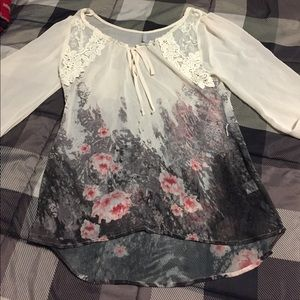 Vanity cream sheer blouse with floral accents NWOT